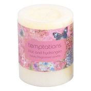 Temptations Floral Lilac & Hydrangea Short Pillar Candle, by White Candle Company