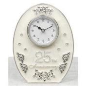 Jewel Rose Silver 25th Wedding Anniversary Clock