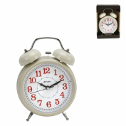 Hometime Cream Quartz Double Bell Traditional Alarm clock