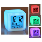 Cube 7 colour LED CLOCK with LCD digital display and alarm clock , Calendar , Alarm function and integrated thermometer different colours , in exchange , Multi-function watch multi-function alarm clock , Alarm Clock
