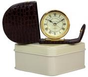 Rogerl Lascelles, Fold Away Travel Alarm Clock, Imitation Brown Croc Case in Cream Tin