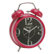 DOUBLE BELL QUARTZ ALARM CLOCK WITH LARGE NUMBERS IN PINK