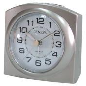 Smart Effects Technoline Geneva L Quartz Alarm Clock with Snooze and Light and Metallic Silver Colour