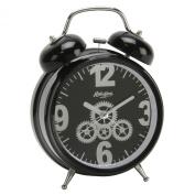 Hometime Double Bell Alarm Clock Black Finish/Cog Design