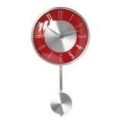 Pendulum Style Wall Clock Aluminium Red & Silver