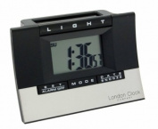 London Clock Co Black Hybrid Solar LCD Alarm Clock