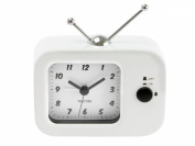 Wanted Retro TV Alarm Clock, Metal White