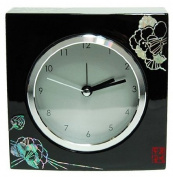 Wooden desk alarm clock, handmade mother of pearl gift, black lacquer peony