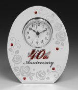 40th Wedding Anniversary Oval Clock - Make a Lovely Ruby Wedding Gift