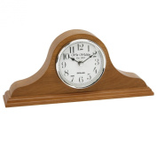Napoleon Shaped Oak Finish Wooden Mantel Clock with Arabic Dial