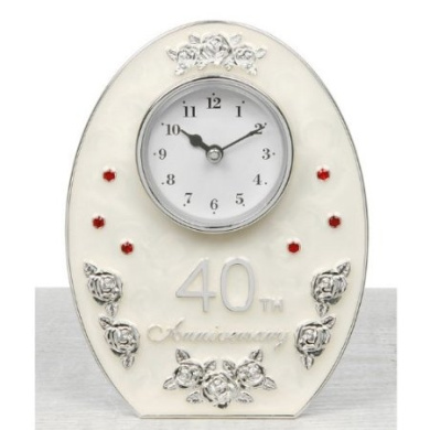 Jewel Rose 40th Ruby Wedding Anniversary Ladies Oval Clock - Make a Lovely Anniversary Gift