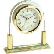 Modern Metal & Glass Quartz Mantel Clock