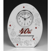 Ruby Wedding 40th Anniversary Mirrored Clock