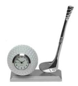 Minature Desk Silver Golfing Desk Clock - Make A Fantastic Gift For The Golfing Enthusiast