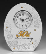 50th Wedding Anniversary Mirror Mantel Clock
