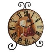 Wine Glass Design Round Wrought Iron Mantel Clock New