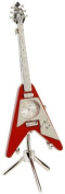 Red Flying V Guitar Novelty Collectors Miniature Clock with Separate Stand