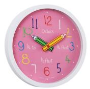 London Clock Children's Nursery Time Teaching Clock pink 24153