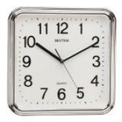 RHYTHM Square Basic Wall Clock with Silent Movement in Silver Colour 3D Numerals