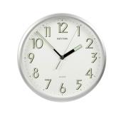 Rhythm Plastic Silver Finish Silent Sweep Wall Clock - Luminous Glow in the dark hands
