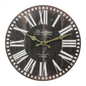 Wall Clock Chic 'n' Shabby Vintage Antique Distressed Style Clock in Brown with Roman Numerals - Ornate Gold Colour Hand Dials