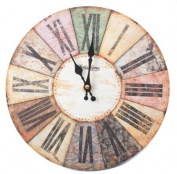 Hometime MDF Round Wall Clock Roman Dial - Multi Coloured W6803BN