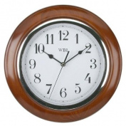Traditional Mahogany Wood Wall Clock - Chrome Arabic Dial
