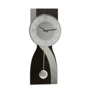 Deluxe Dark Wood with Mirror Wave Pendulum Wall Clock