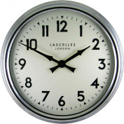 Roger Lascelles Large Chrome Wall Clock with Arabic Numbers