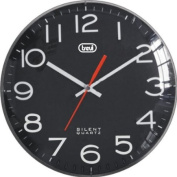 Trevi 3316 30cm Black Wall Clock with Convex Glass and Sweep Silent Movement