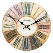 Modern Multi-Coloured Roman Wall Clock - Contemporary Design