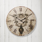 Left Bank French Style Embellished Cream Pendulum Wall Clock 58cm