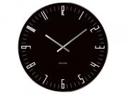 Karlsson Wall Clock Xl Slim Index Black Glass with Mirror Edge