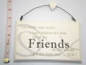 """Cream Wooden Plaque """"I`m Really Very Lucky.I Can`t Believe It`s True Of all The FRIENDS In The world I got The Best One ....You"""