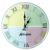 Hometime Round Glass Wall Clock Quarter Sections Multi Cols