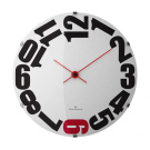 Oliver Hemming 37cm Domed Red Six Wall Clock