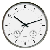 Technoline WT 7980 Stainless Steel Wall Clock with Thermo and Hygro