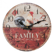 Modern Family Rooster Wall Clock - Contemporary Design