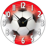 Football Wall Clock in Red and White