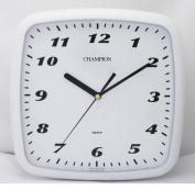 Champion Bold Square Classic White Quartz Non Ticking Wall Clock