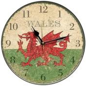 Wales Emblem Round Wall Clock