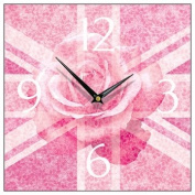 Union Jack Pink Rose Square Wall Clock