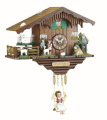 Black Forest Clock Swiss House with turning goats, incl. batterie