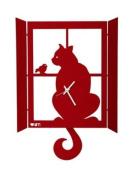 CAT ON THE WINDOW WALL CLOCK ITALIAN DESIGN ARTI MESTIERI - RED