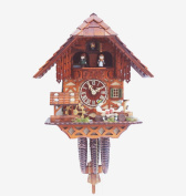 Cuckoo Clock Black Forest house with moving beer drinker and mill wheel
