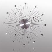 DESIGN WALL CLOCK SUNBURST KRISTALL ~50 cm watch decoration silver from XTRADEFACTORY