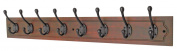 8 Decorative Black Hooks on Antiqued Jumbo Wooden Board Coat Rack Hanger