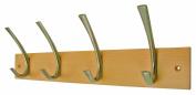 4 Large Modern Nickel Hooks on Solid Beech Coat Rack