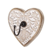 Carved Heart Wall Key Hook