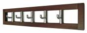 5 Rotating Coat Hooks in Dark Wooden Frame Coat Rack